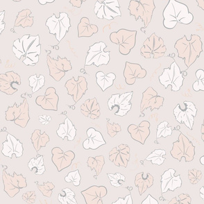 Magical Autumn Pumpkin Leaves with Vine Swirls seamless pattern background.