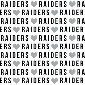 raiders fabric - heart, love, black and grey