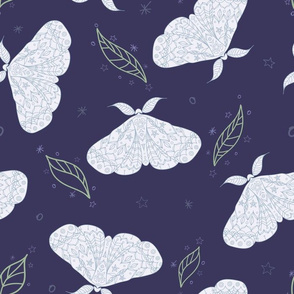 Magical Moths in Sky with Leaves seamless pattern background.