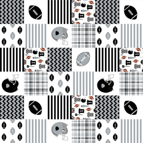 "raiders quilt fabric - 3"" quilt squares, football quilt, cheater quilt, black and grey quilt, football fan"