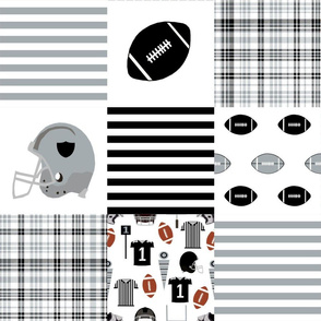 "raiders quilt fabric - 6"" quilt squares, football quilt, cheater quilt, black and grey quilt, football fan"