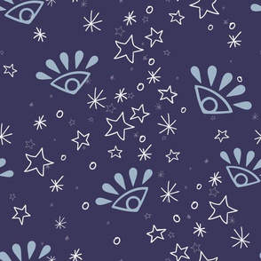 Magical Forest Fairy Eyes in Blue seamless pattern background.