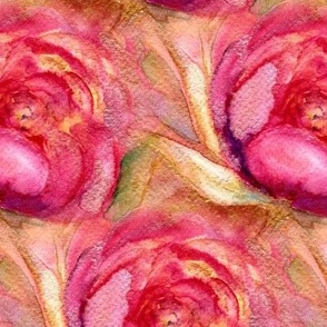 WATERCOLOR PEONIES PINK BRIGHT GOLD PSMGE
