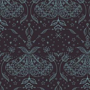 Magical Forest Moths Line Art seamless pattern background.