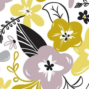 Greyson - Boho Floral - Large Scale - Mustard Yellow - Grey- Purple Flowers