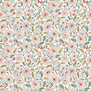 Christmas Blossoms White-4x4