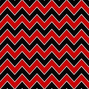 utah chevron fabric - black and red chevron