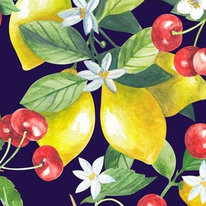 Seamless watercolor illustration pattern with lemons and cherry branches