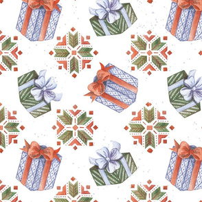 Christmas theme Seamless Pattern with watercolor illustration of gifts and ornament