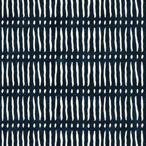 vertical dash mud cloth stripes - indigo - mud cloth inspired home decor wallpaper - LAD19