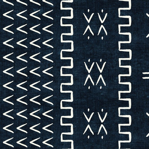 mud cloth - arrow & cross - indigo - mud cloth inspired home decor wallpaper - LAD19