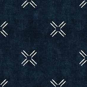 cross on indigo -  trendy mud cloth inspired home decor wallpaper - LAD19
