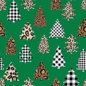 leopard print christmas trees - leopard print, buffalo plaid, red and green, christmas tree, christmas leopard print, holiday leopard - green