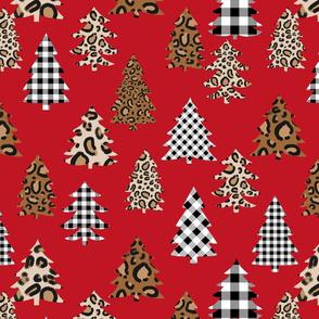 leopard print christmas trees - leopard print, buffalo plaid, black and white, christmas tree, christmas leopard print, holiday leopard - red
