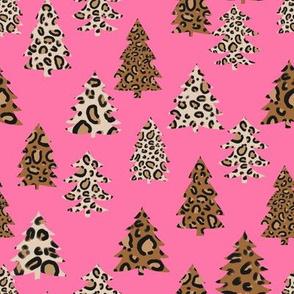 leopard print christmas trees - leopard print, christmas tree, christmas leopard print, holiday leopard - pink