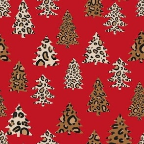 leopard print christmas trees - leopard print, christmas tree, christmas leopard print, holiday leopard - red