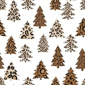 leopard print christmas trees - leopard print, christmas tree, christmas leopard print, holiday leopard - white