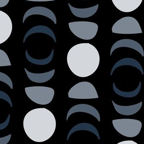 Moon Phases in Black and Gray