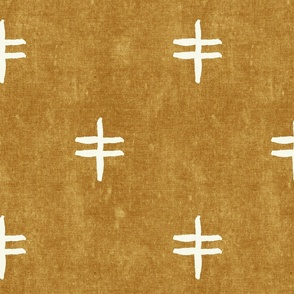 double cross - mud cloth - mustard - mudcloth tribal - LAD19
