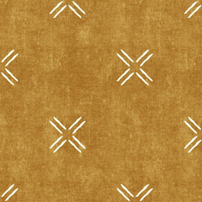 cross on mustard -   trendy mud cloth inspired home decor wallpaper - LAD19