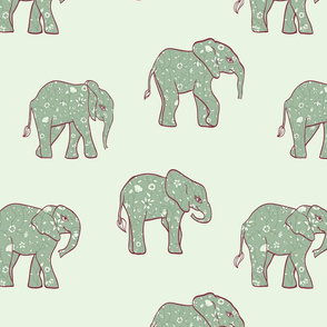 Elephants with Floral Pattern on Green seamless pattern background.