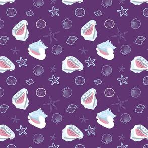Starfish and Conchshells purple