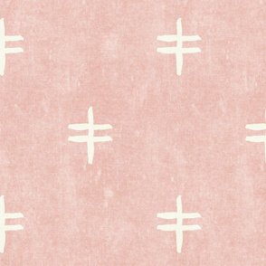 double cross - mud cloth - pink - mudcloth tribal - LAD19