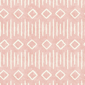 diamond fall - mud cloth - pink - mudcloth farmhouse tribal - LAD19