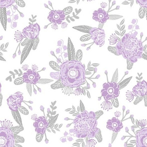 lavender florals floral nursery baby grey and purple fabric