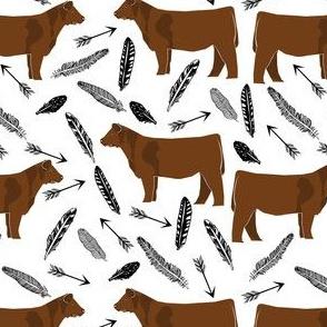 red angus arrow fabric - boho western fabric, angus cattle fabric -black