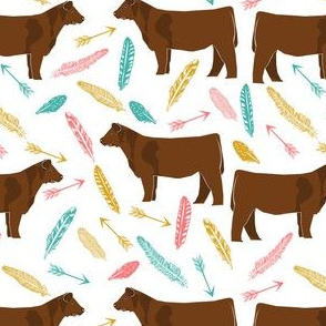 red angus arrow fabric - boho western fabric, angus cattle fabric - multi