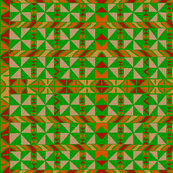 Tribal Quilt - Green Orange