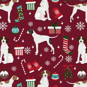 english pointer christmas fabric - christmas fabric, pointer dog fabric, holiday fabric, xmas fabric - ruby