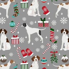 english pointer christmas fabric - christmas fabric, pointer dog fabric, holiday fabric, xmas fabric - grey