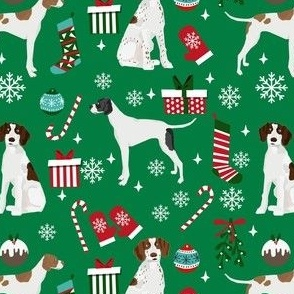 english pointer christmas fabric - christmas fabric, pointer dog fabric, holiday fabric, xmas fabric - green