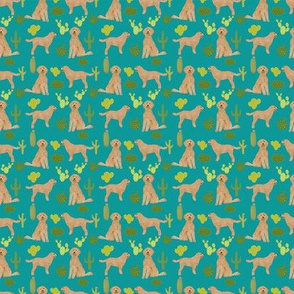 TINY - doodle dog cactus fabric // cactus dog fabric, doodle dog fabric, goldendoodle fabric, cute dog fabric, dog breeds fabric, dog fabric - turquoise