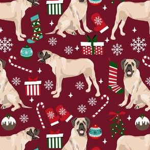 english mastiff christmas fabric - christmas dog, mastiff dog fabric, mastiff christmas, dog christmas fabric - ruby