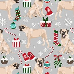 english mastiff christmas fabric - christmas dog, mastiff dog fabric, mastiff christmas, dog christmas fabric -grey