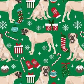 english mastiff christmas fabric - christmas dog, mastiff dog fabric, mastiff christmas, dog christmas fabric - green