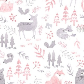 woodland forest animals in gray/pink