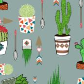 cactus pattern colorway grey