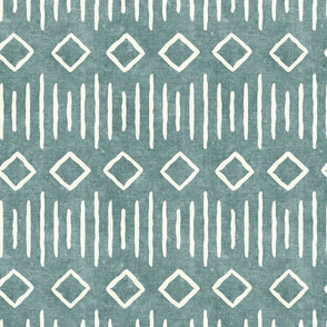 diamond fall - mud cloth - dusty blue - mudcloth farmhouse tribal - LAD19