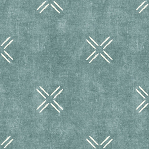 cross - dusty blue - mud cloth inspired home decor tribal wallpaper  - LAD19
