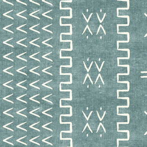 mud cloth - arrow & cross - dusty blue - mud cloth inspired home decor wallpaper - LAD19