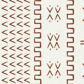 mud cloth - arrow & cross - rust on bone - mud cloth inspired home decor wallpaper - LAD19