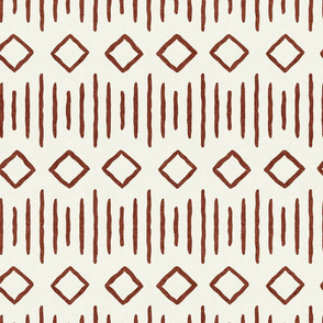 diamond fall - mud cloth - rust on bone - mudcloth farmhouse tribal - LAD19