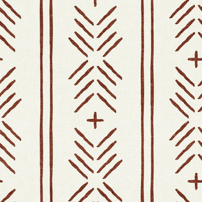 mud cloth arrow stripes - rust on bone - mudcloth tribal - LAD19