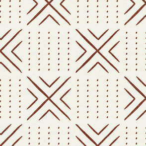 mud cloth tile - rust on bone - mud cloth inspired home decor wallpaper - LAD19