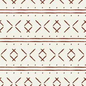 mud cloth stitch - rust on bone - mudcloth tribal - LAD19
