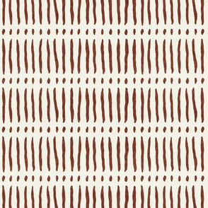 vertical dash mud cloth stripes - rust on bone - mud cloth inspired home decor wallpaper - LAD19